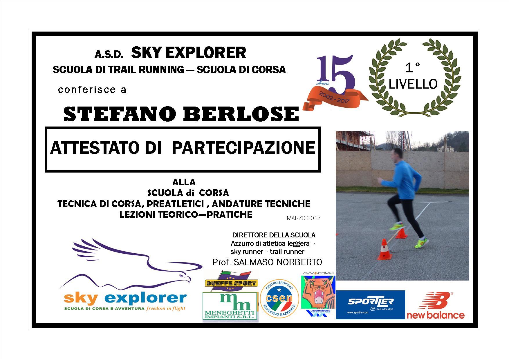 2017 STEFANO BERLOSE ATTESTATO 1 LIVELLO SKYRUNNER